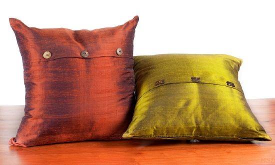 taie de coussin en soie 461 rouille jaune. Black Bedroom Furniture Sets. Home Design Ideas